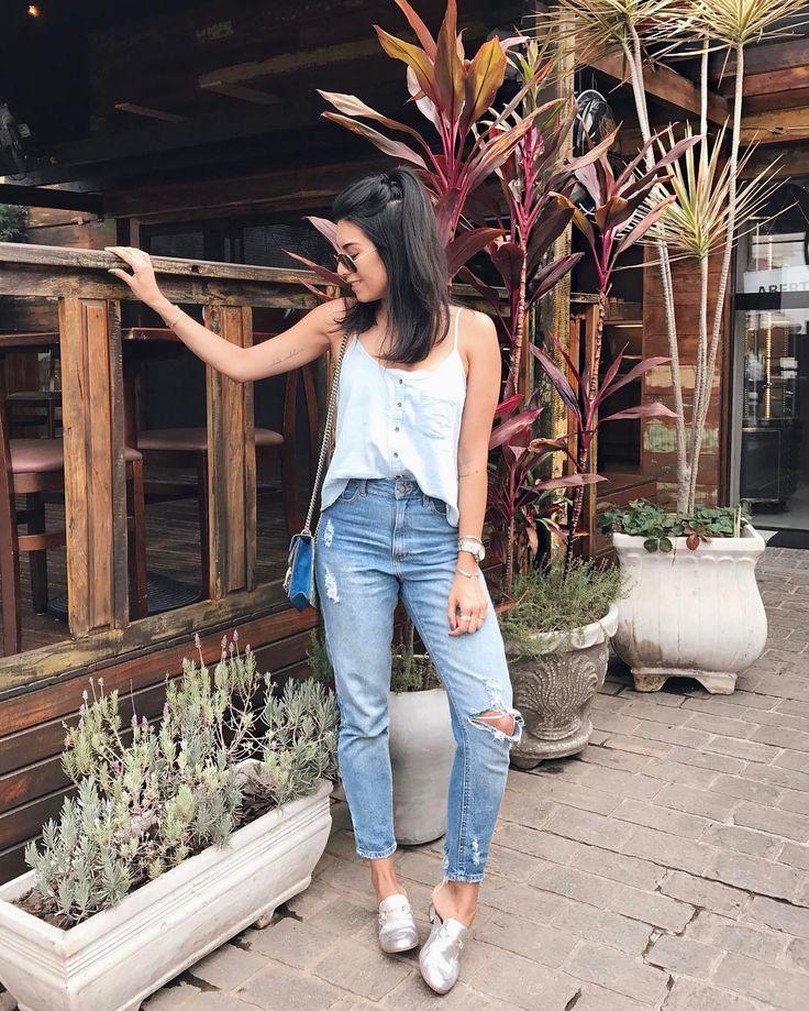 """7,696 curtidas, 81 comentários - Jessica (G) Flores (@jessicaflores) no Instagram: """"De hoje: TOTAL JEANS Viemos almoçar na @stahelenacozinhamulticultural, agora eles servem almoço…"""""""