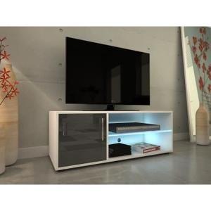 MEUBLE TV KORA Meuble TV 100 cm avec éclairage LED - Laqué g