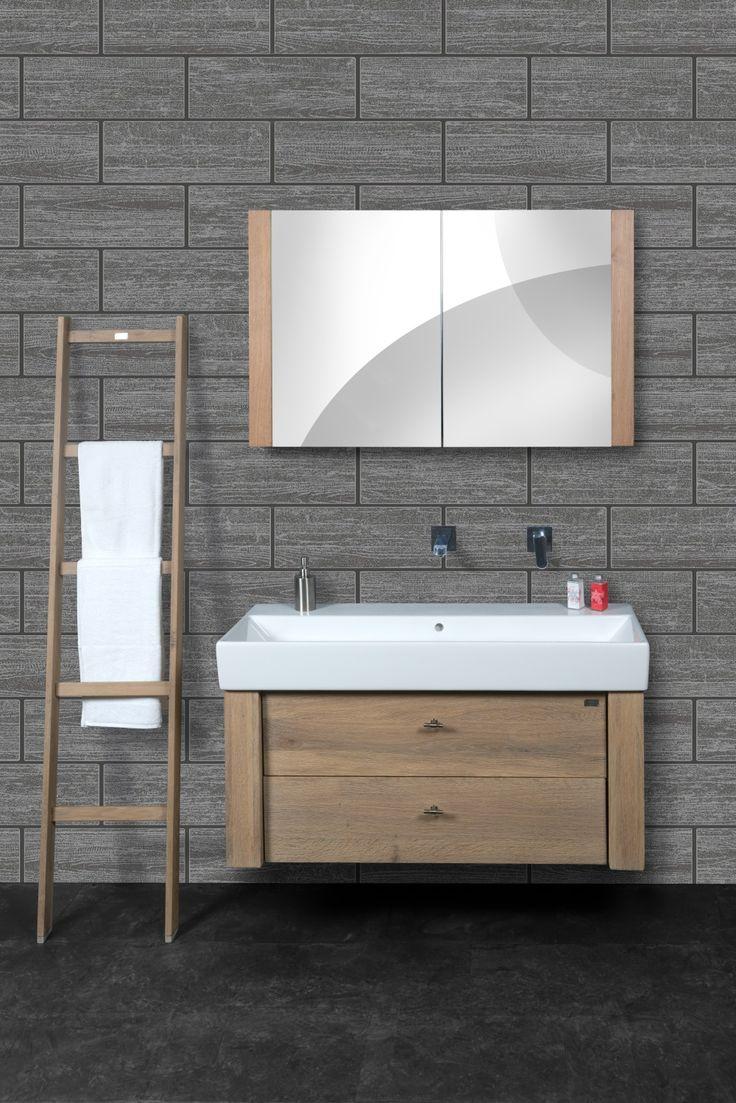 25 beste idee n over houten wastafel op pinterest zwart wit badkamers en metro tegels badkamers - Badkamer met houten meubels ...