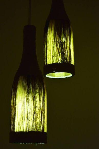 Luminária de fibra natural - 2 garrafas