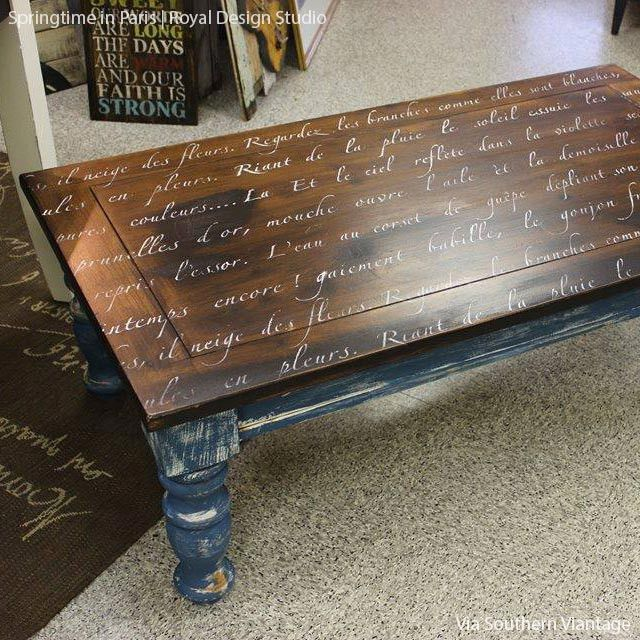 Great idea for a coffee table. Your favourite poem or book quote...Springtime in Paris Lettering Stencil
