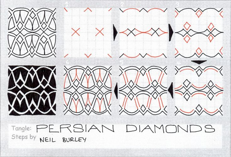 Persian Diamonds. Tangle Patterns by Neil Burley / perfectly4med.