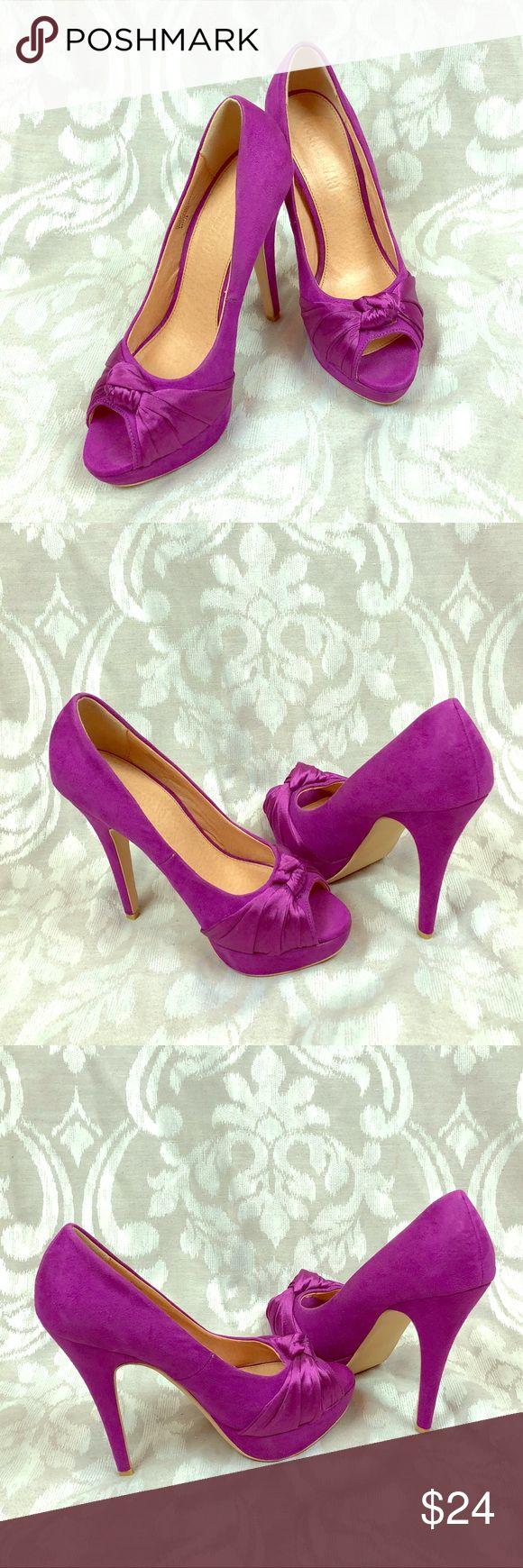 Colin Stuart purple open toe bow platform heels See sole conditions Colin Stuart Shoes Heels