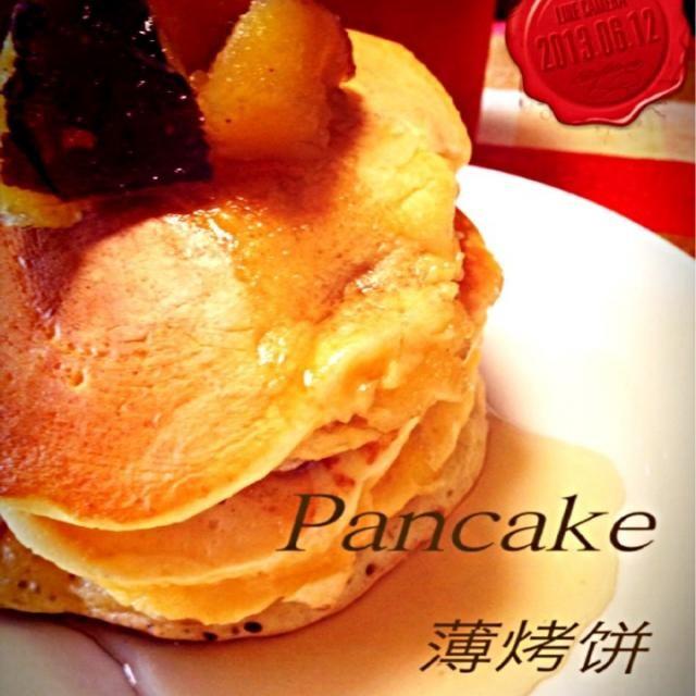 セブンイレブンさつまいも煮を使用。 - 268件のもぐもぐ - さつまいも入り生地のパンケーキ by yuzu75