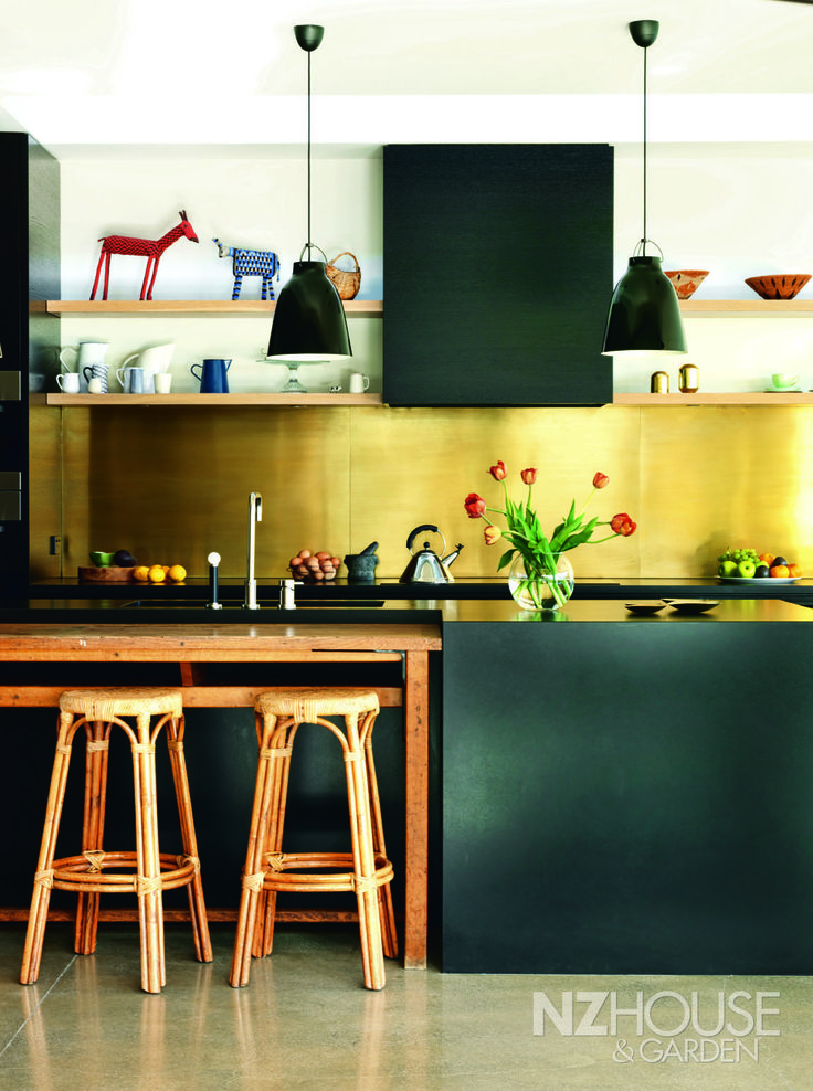 NZ House and Garden Interior of the Year | Kitchen finalist - love the old lab bench, black stained oak and brass splash back