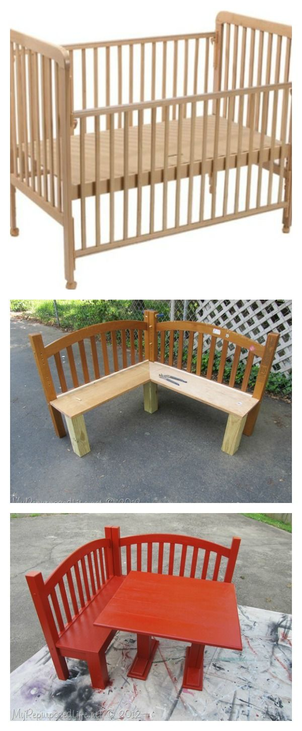 DIY Kids Corner Bench and Table Set -Upcycled Crib Idea