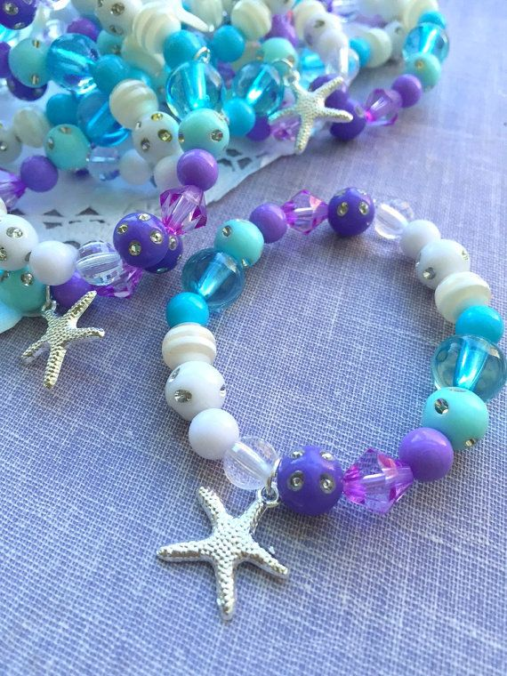 Mermaid party jewelry favor kids stretchy bracelet by buysomelove