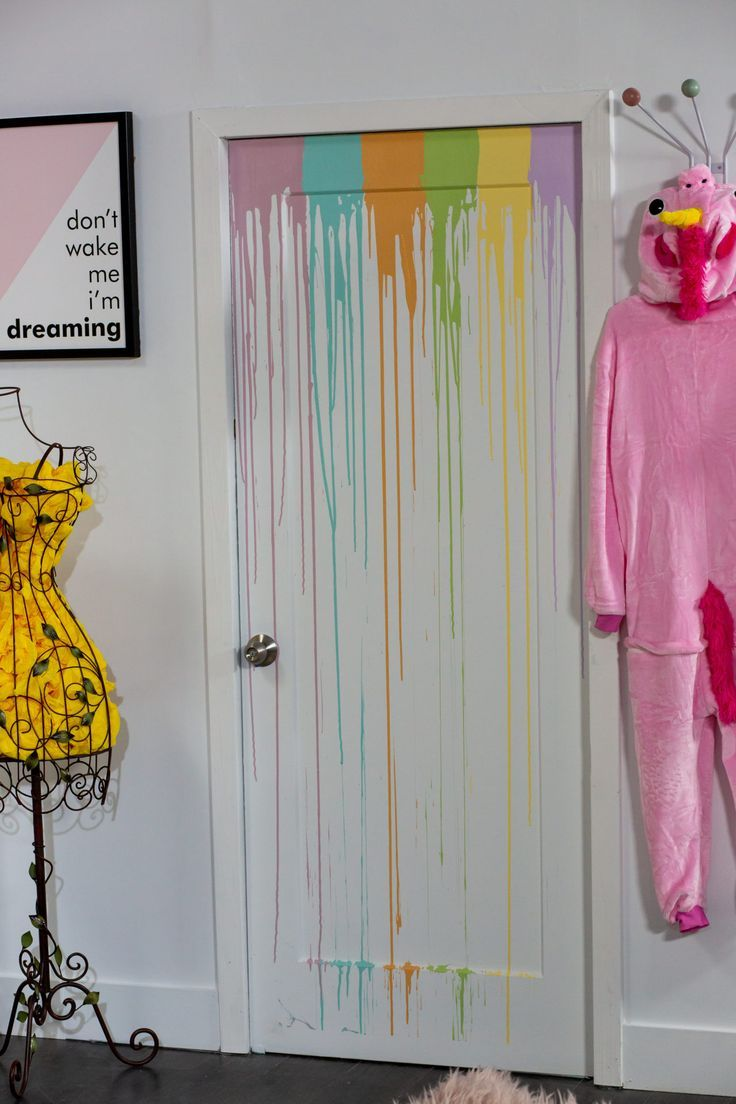 I Love The Diy Detail Of This Rainbow Drip Painted Door What A Creative Way To Add Some Interest To A Pre Painted Bedroom Doors Painted Doors Kids Room Design