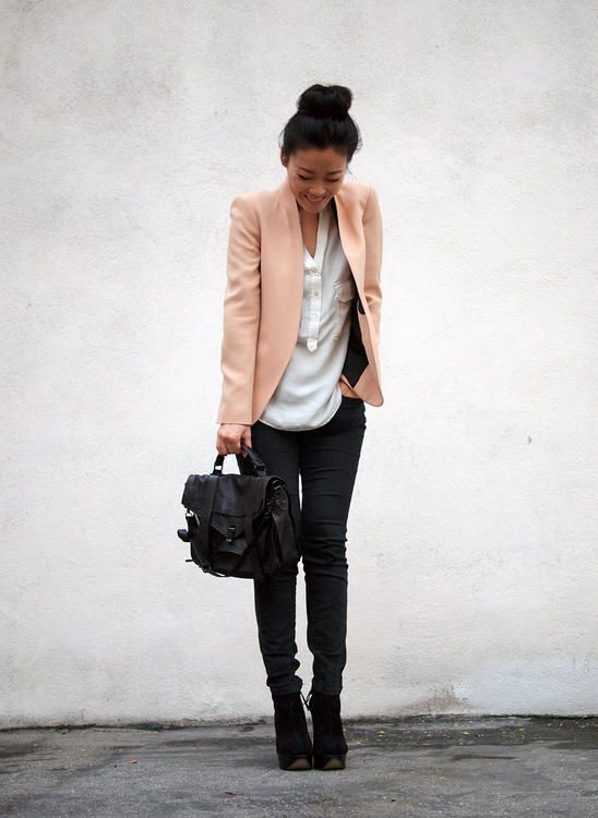 black / white / colored blazer. I have a khaki blazer that would go well with this outfit.
