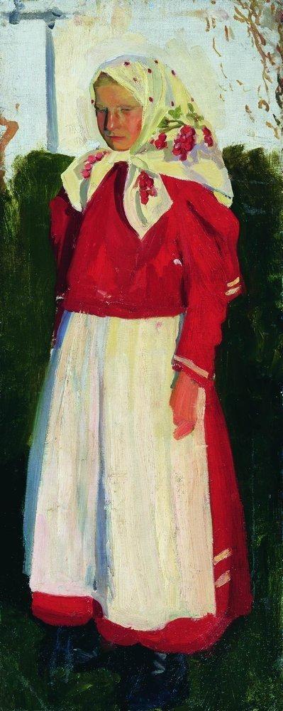 Dunya in red - Boris Kustodiev