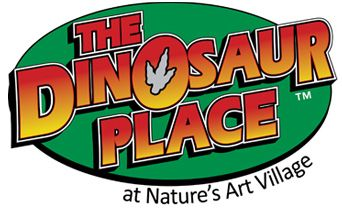 The Dinosaur Place at Nature's Art Village, Montville CT - outdoor activities and playground with 40+ dinosaurs scattered throughout