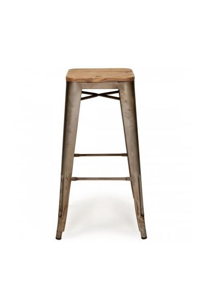 Replica Tolix Bar Stool. Powder coated steel /timber seat. Available in black with wood seat, raw metal with wood seat, gunmetal with wood seat, red with wood seat, Rusty with wood  seat and white with wood seat. #Chairs #Interiors #ChairCrazySA #BarStool
