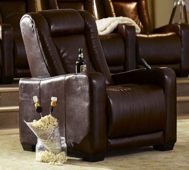 Media Room leather recliner armchairs feature smoothly-operating Leggett & Platt electric reclining mechanisms. As the seat back reclines, the footrest rises, allowing you to relax in a nearly horizontal position...