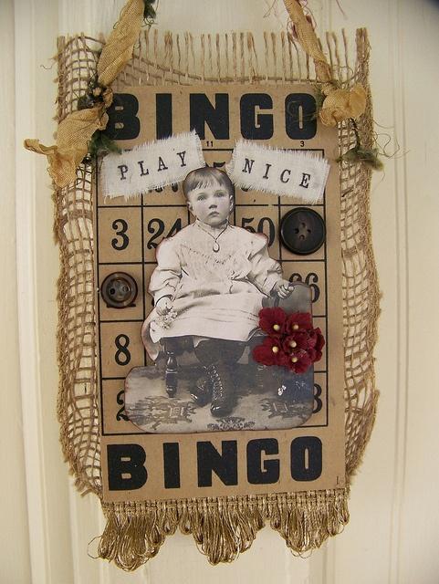 Altered Vintage Bingo Card Collage