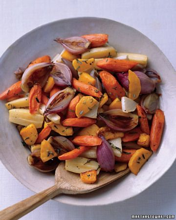 Roasted root veggies. Butternut squash, carrots, parsnips and rutabaga. Trying to get away from eating potatoes as my go-to starch. Martha Stewart Recipes