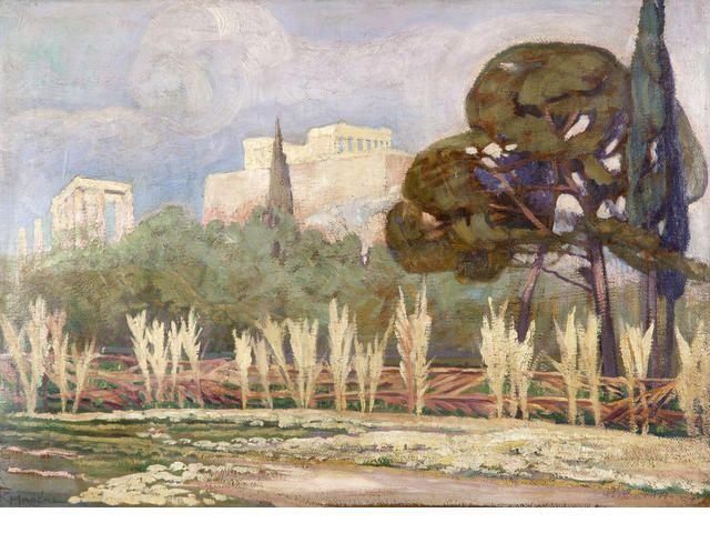 Constantinos Maleas (Greek, 1879-1928) View of the Acropolis 50 x 69 cm.