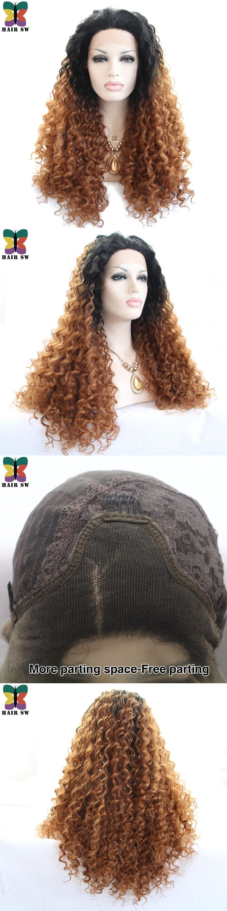 HAIR SW Long Deep Wave Lace Front Wig Synthetic Auburn Ombre With Dark Root Layers Free Part Drag Queen Lace Wig For Afro Women