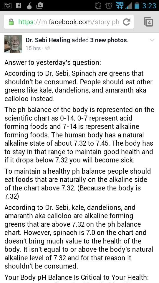 Dr Sebi speaks on why we shouldn't eat Spinach