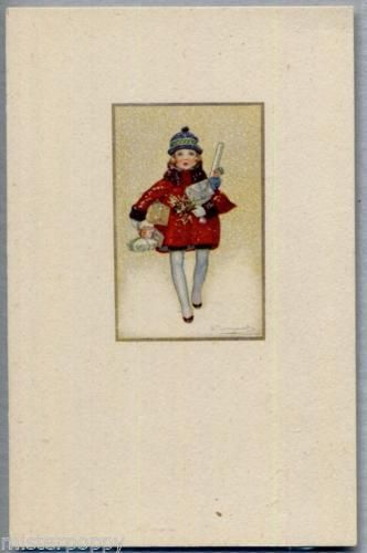BOMPARD-Bambina-con-regali-Childrens-Girl-with-Packets-PC-Circa-1920-2
