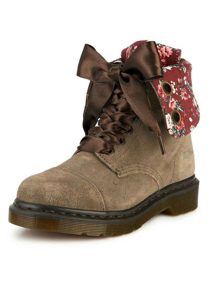 Dr Martens Aimilie Suede Fold Down Floral Line Boots | very.co.uk