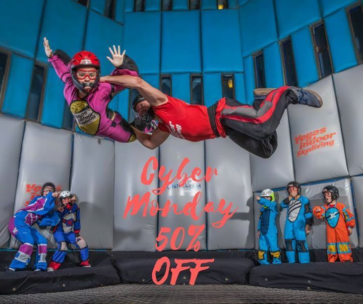 💥50% OFF all flight specials on CYBER MONDAY!!💥  Promo Code: GIVE50OFF  www.vegasindoorskydiving.com  *50% discount is only valid on 11/27, however reservations may be booked for anytime through May 2018.