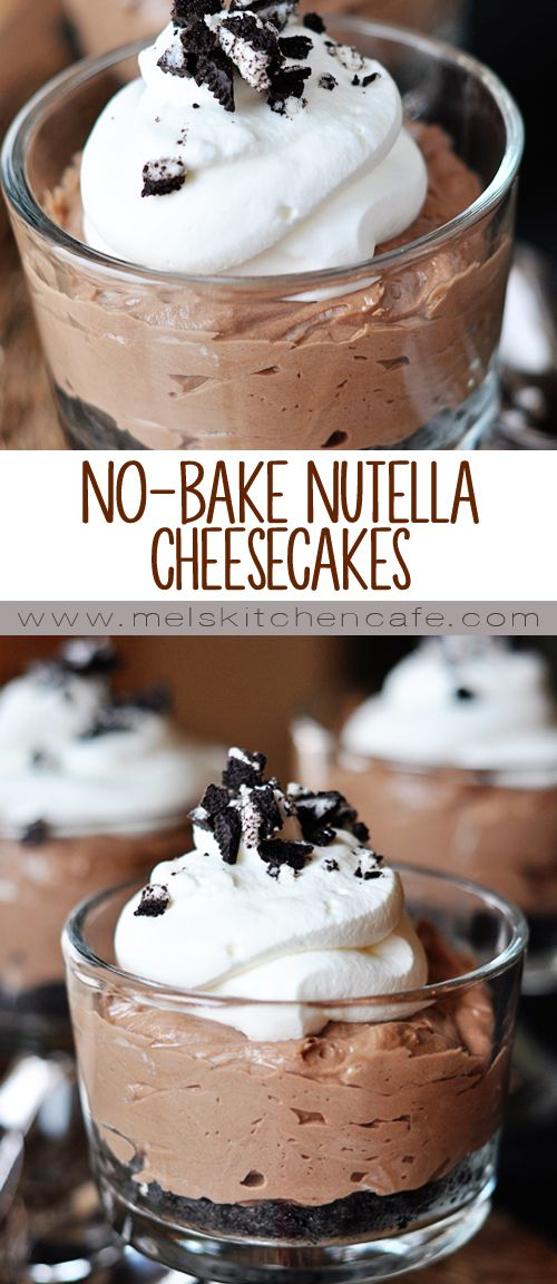 These No-Bake Nutella Cheesecakes are so simple and delicious.