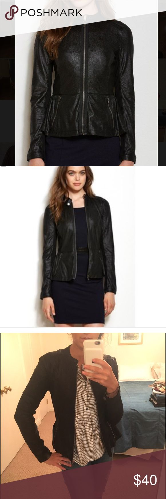Faux Leather Peplum Jacket Black Faux leather peplum jacket looks really great on, and was worn only once! A/X Armani Exchange Jackets & Coats
