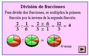 División de fracciones con diferente denominador