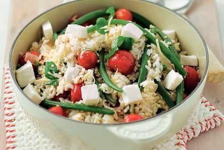 Italiaanse rijst met sperziebonen en tomaat