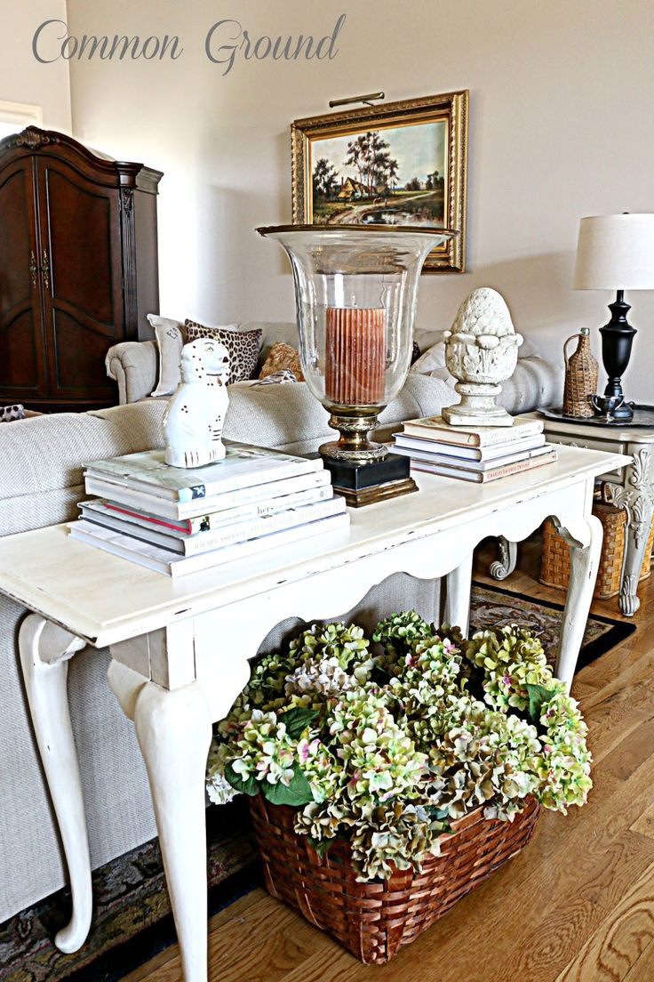 27 best images about styling a sofa table on pinterest for Living room table decorating ideas