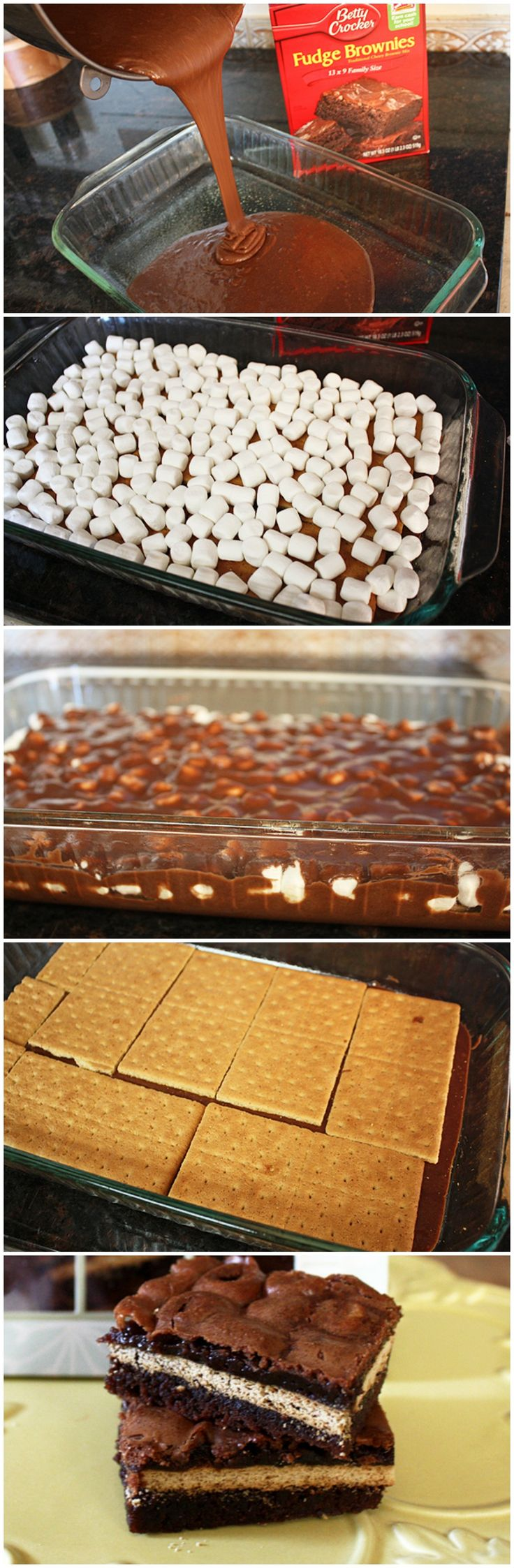 Inside Out S'mores Bars #omg #yum Good I think I need to bake a little longer and I will try more marshmallows next time