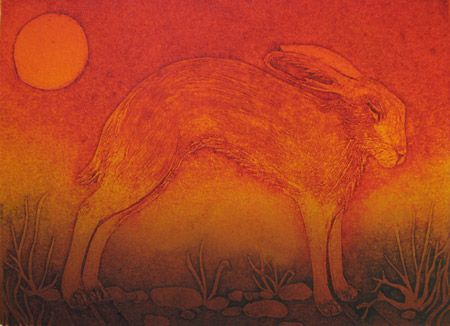 """""""Furze Cat"""" by Hester Cox (collagraph)"""