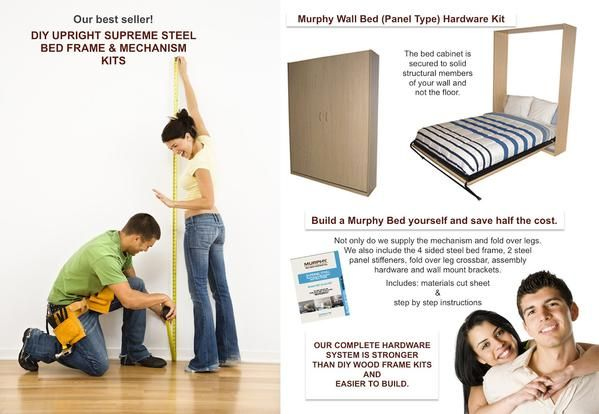 """Single/Twin, Double/Full, & Queen Size Murphy Bed Cabinetry require 3 sheets of 4' x 8' x 3/4"""" furniture grade plywood. Step by step instructions included."""