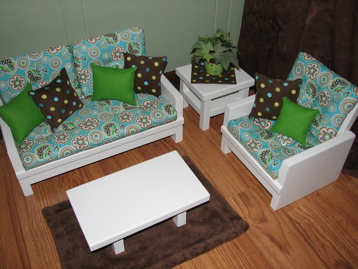 American Girl sized / 18 inch doll furniture - 4 Piece Living Room Set in  Aqua Blue / Brown - 21 Best Images About American Girl Sitting Area On Pinterest
