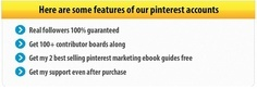 Buy ready to profit pinterest accounts start making big $$$ Contact us for Bulk Price: