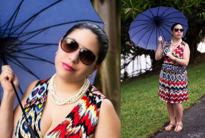 Summer Rain Outfit with Penelope Karina Dress #Frockstar Umbrella burst print with pickets
