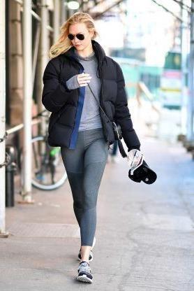 ada94b75801 Karlie Kloss wearing Saint Laurent Blogger Bag, Tna Super Puff Jacket, Ray-Ban  Rb3026 Aviator Sunglasses,  47 St. Louis Cardinals…   ray ban highstreet ...
