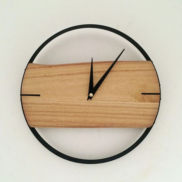 natural wall clock brief style wooden wall clock wooden decor large round unique clock 12 INCH digital clock for living room