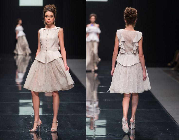 Блузка с баской  и юбка из жаккардовой органзы и кружева