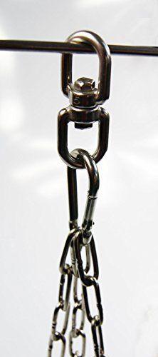 Edelstahl Kettensatz + Seilwirbel für Grill bis Ø 80 cm + 4 Karabiner Grillrost V2A Kette
