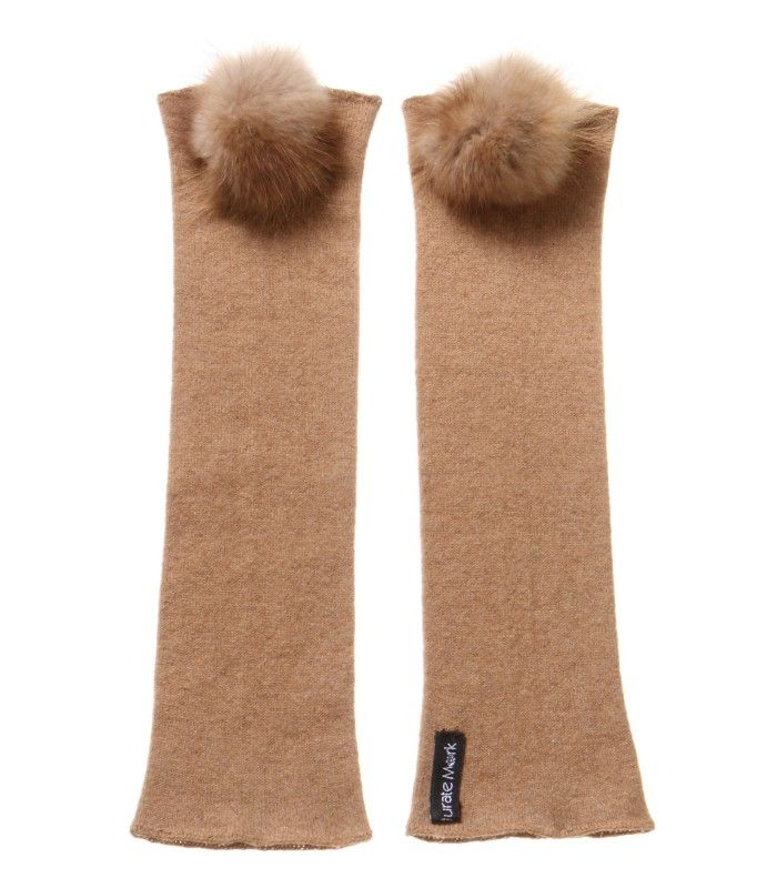 Camel arm warmers with Mink Fur pompom packaged in Signature box