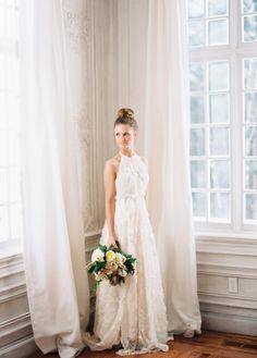 halter neck wedding dress - photo by Ciara Richardson