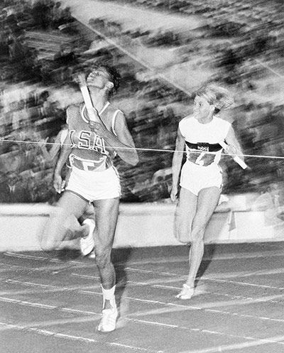 History was then made in the 4x100m relay as Wilma Rudolph crossed the line first in a world record time of 44.5 seconds to win another gold medal – her third of the Games – with team-mates Martha Hudson, Lucinda Williams and Barbara Jones.