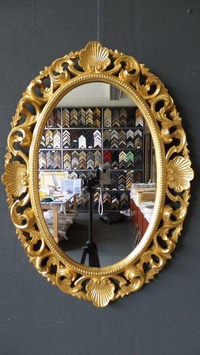 Grote Venetiaanse Spiegel met opengewerkte ornament - Hand verguld - Goud