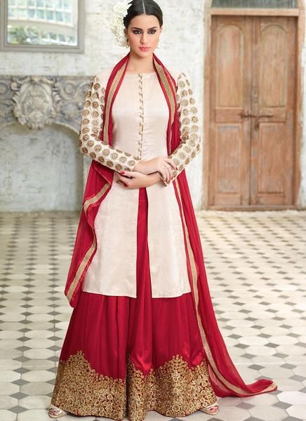 Cream Silk Embroidered Palazzo Suit
