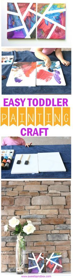 Easy Toddler Painting Craft - Indoor or Outside Activity - Super pretty and quick to make! Great for toddlers 1 year and older. Esspecially great for 18 month old toddlers. Paintings craft for toddlers.