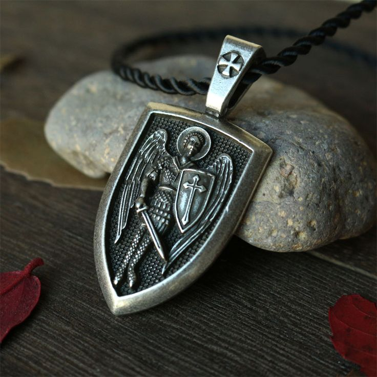 1pcs men necklace Archangel St.Michael Protect Me Saint Shield Protection Charm russian orhodox pendant necklace