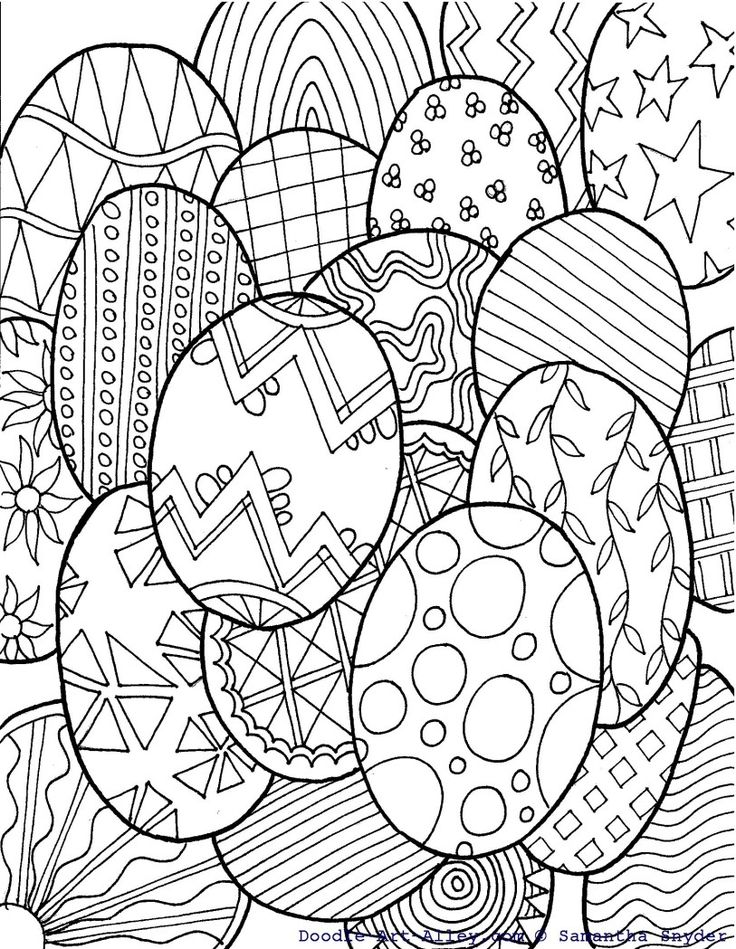 DOODLE ART ALLEY - FREE Easter eggs colouring page