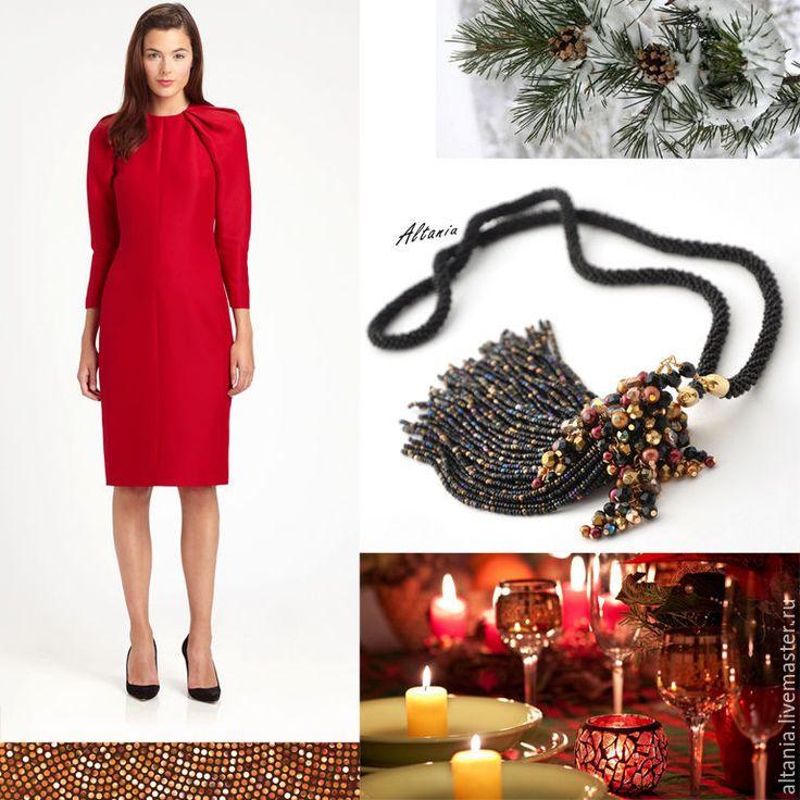 Купить Рождество у камина - колье-подвес - черный, бисерное украшение, черный бисерный жгут