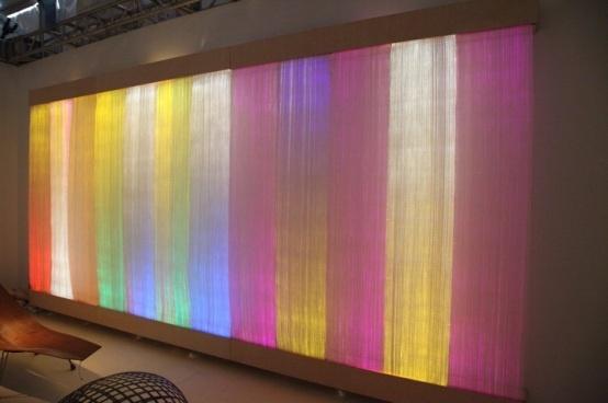 woven fiber optic wall covering.: Fiber Optical Lights, Labs Parties, Optical Fiber, Optical Wall, Colors Lights, Etextil Lounges, Lights Tapestries, Gorgeous Lights, Art Energy